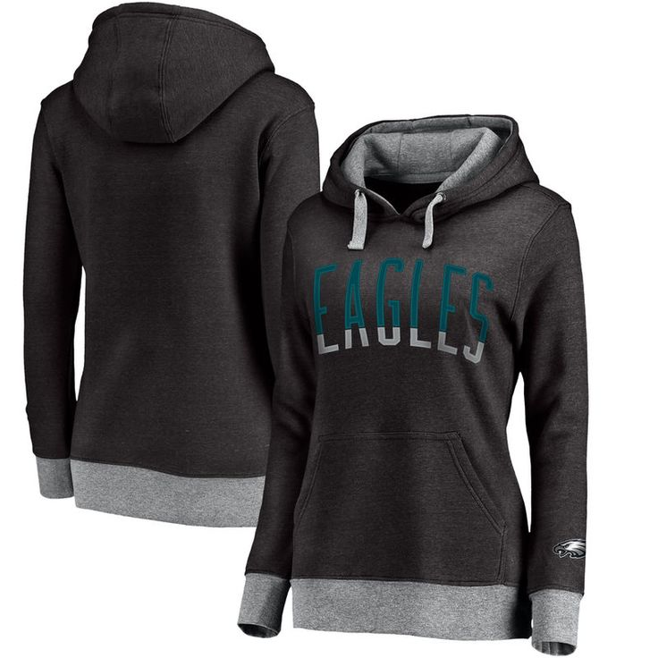 Philadelphia Eagles NFL Pro Line Women's Team Essentials Latitude Clean Color Tri-Blend Pullover Hoodie - Heathered Black