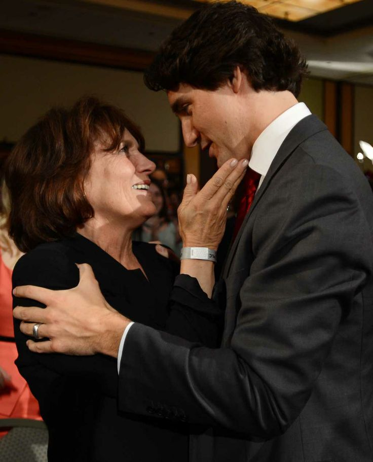 Mother and son, Margaret Trudeau and Justin Trudeau - Monday, October 19th, 2015 - Justin has been elected as the next Prime Minister of Canada, following in his father's footsteps...