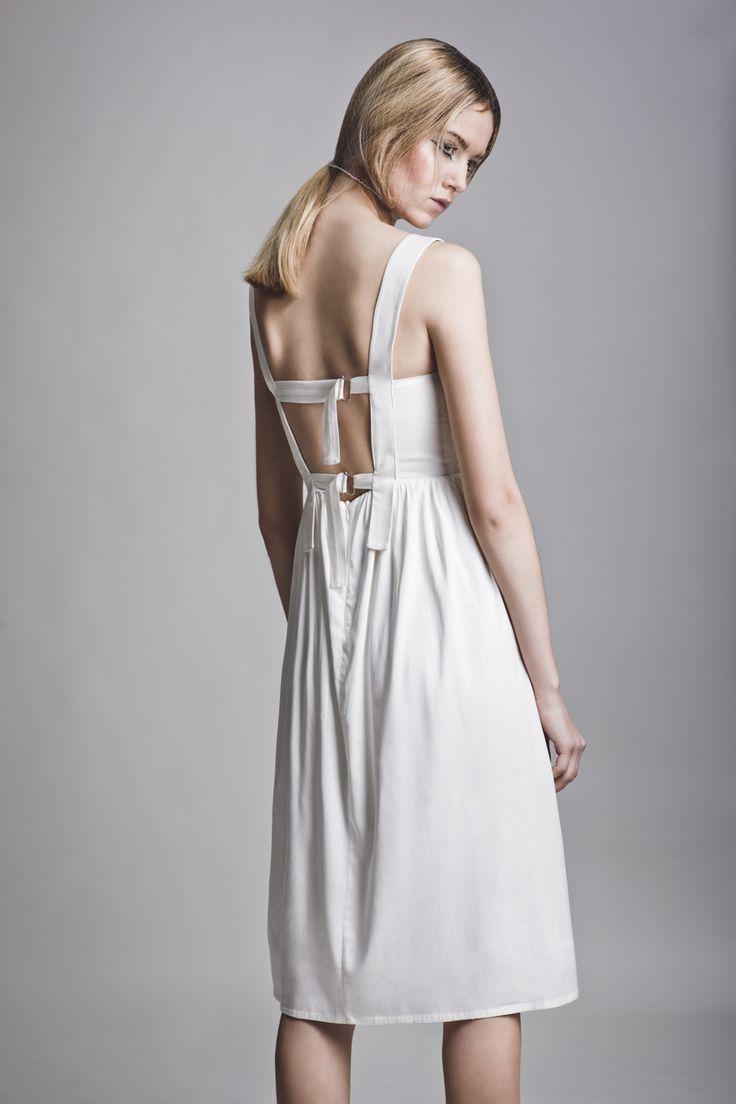 Clothes: Vassiliki Charitou SS15 Photographer: Vasilis Topouslidis Hair - Make up: Katerina Theofilopoulou  white minimal dress