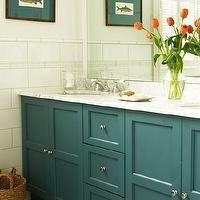 House & Home - bathrooms - teal bathroom cabinets