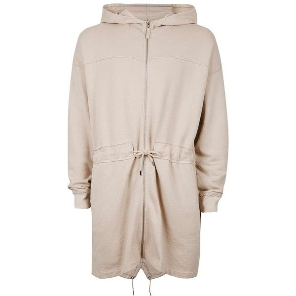 TOPMAN Stone Panelled Jersey Parka ($28) ❤ liked on Polyvore featuring men's fashion, men's clothing, men's outerwear, men's coats, brown, mens brown coat and mens parka coats