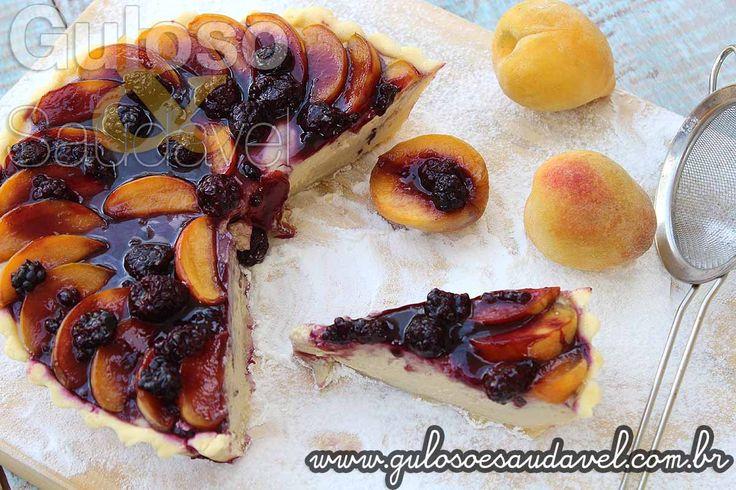 Receita de Cheesecake de Pêssego com Coulis de Amora