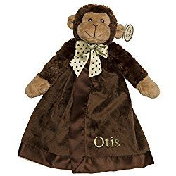 PERSONALIZED Monogrammed Embroidered Brown Monkey Wiggles Snuggler Plush Velour Security Blanket~ Make it Special!