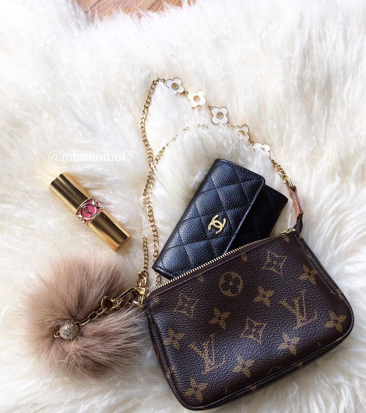 YSL lipstick, Chanel wallet and Louis Vuitton bag
