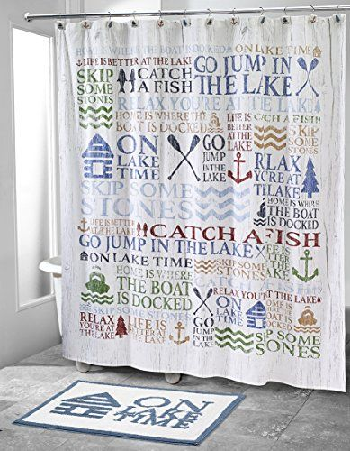 Avanti Linens Lake Words Rug Cool Shower Curtains Lodge Shower