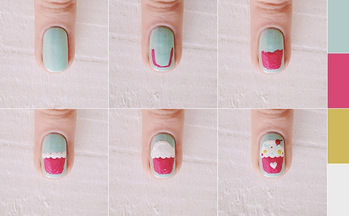 Nail art: cupcake decorado