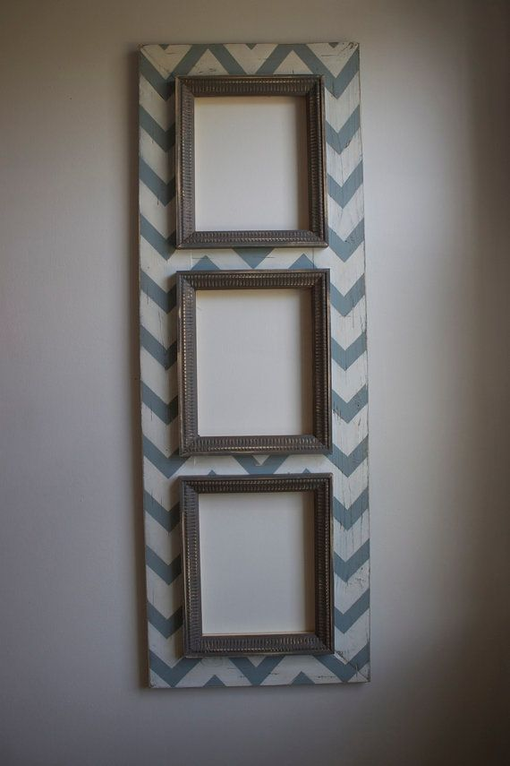 3 Multi Opening Chevron Distressed Picture Frame 8x10 Meditative Blue And Man Cave Grey Trims 家居相框壁掛類 Pinterest Frames