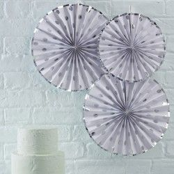 Silver Foiled Polka Dot Paper Fan Decorations 3pk.