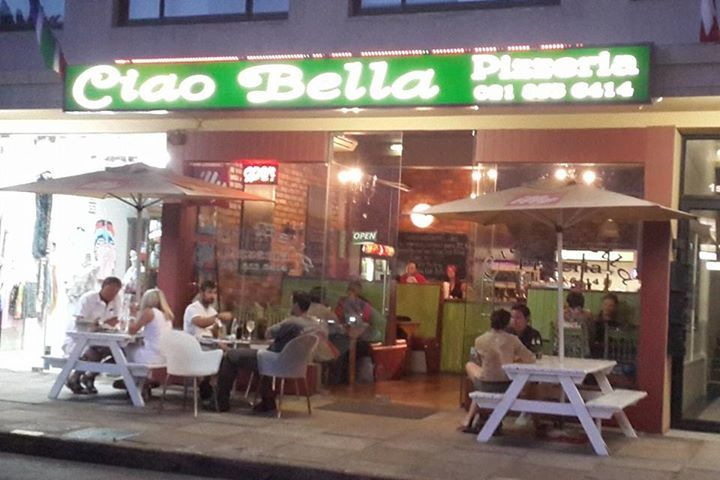 """Ciao Bella Pizza - Strand - Cape Town - authentic Italian thin base pizza (and so by the way a serious """"grande"""" of 45 cm is also available) served with good coffee. Located in Strand Central - just behind the  traffic circle of Main Road and Beach Road."""