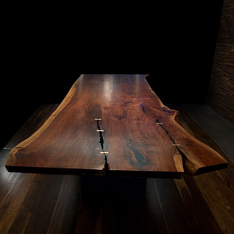 Slab table - walnut, with light wood butterfly inserts