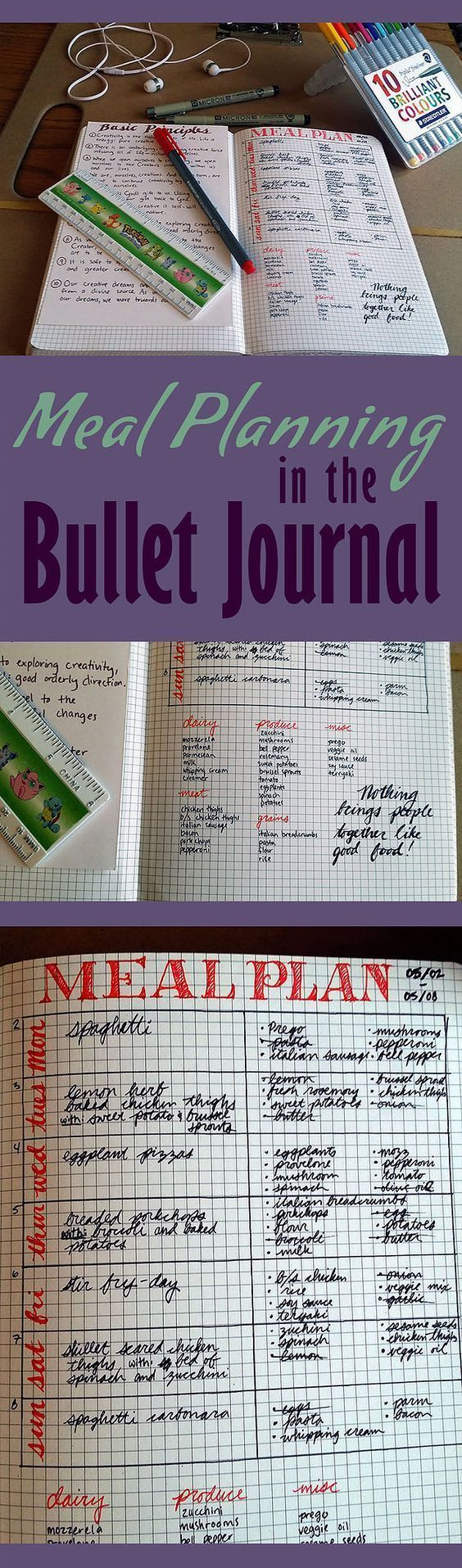 Meal planning is super easy in the bullet journal! I can't wait to organize my weekly meals with my bullet journal.