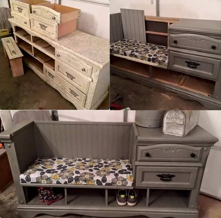 Diy dresser repurposed into sitting bench flea market for Diy flea market projects