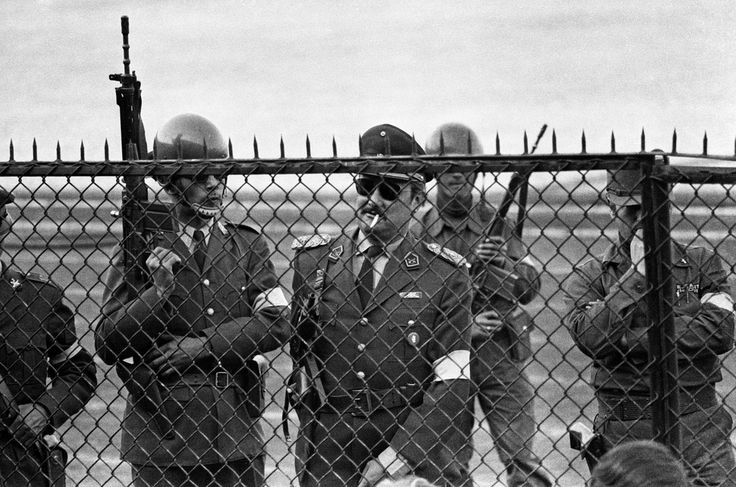 Guards, National Stadium, Santiago, Chile, 1973