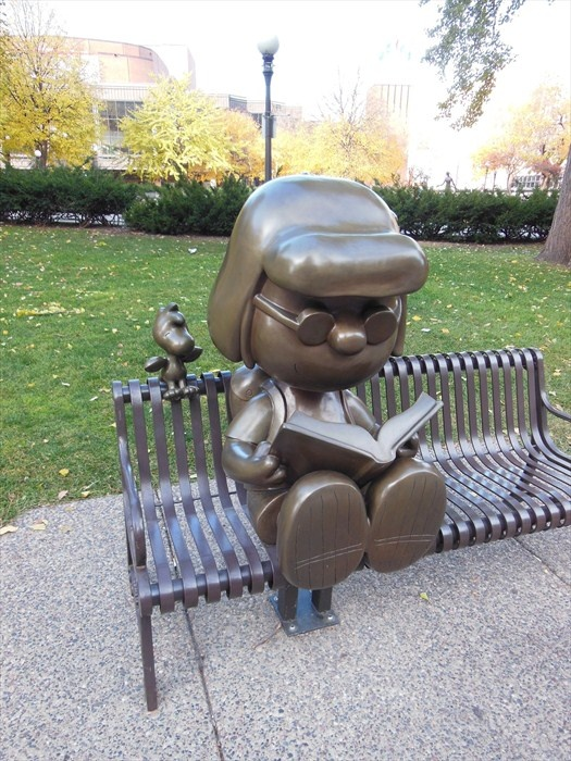 """Statue of the """"Peanuts"""" Character Marcie Reading, Rice Park, St. Paul, Minnesota"""