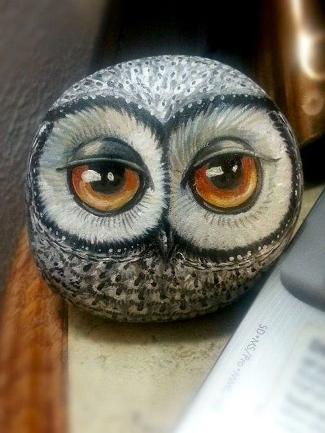 Painted rock, Owl, by Shelli Bowler