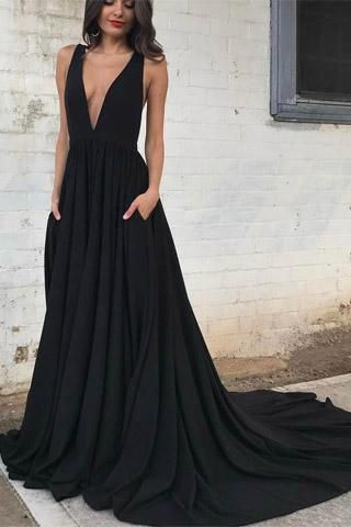 f8ab3a478f Simple Black Chiffon Backless Deep V Neck A line Long Prom Dress ...