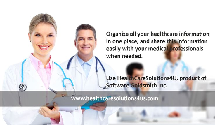 Organize all your healthcare information in one place, and share this information easily with your medical professionals when needed. Use HealthCareSolutions4U, product of Software Goldsmith Inc. Don't wait and register today! https://www.healthcaresolutions4us.com/register.php