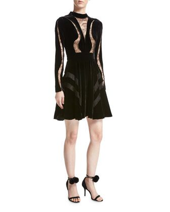 Long-Sleeve+Lace-Inset+Velvet+Cocktail+Dress,+Black+by+Elie+Saab+at+Neiman+Marcus.