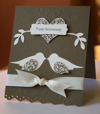 Love Birds!...pretty anniversary card in brown and white...like the printed paper used for heart and wings on the two step bird on this card...