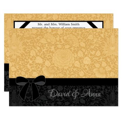 Elegant Gold Floral Brocade & Black Ribbon Card - wedding invitations diy cyo special idea personalize card