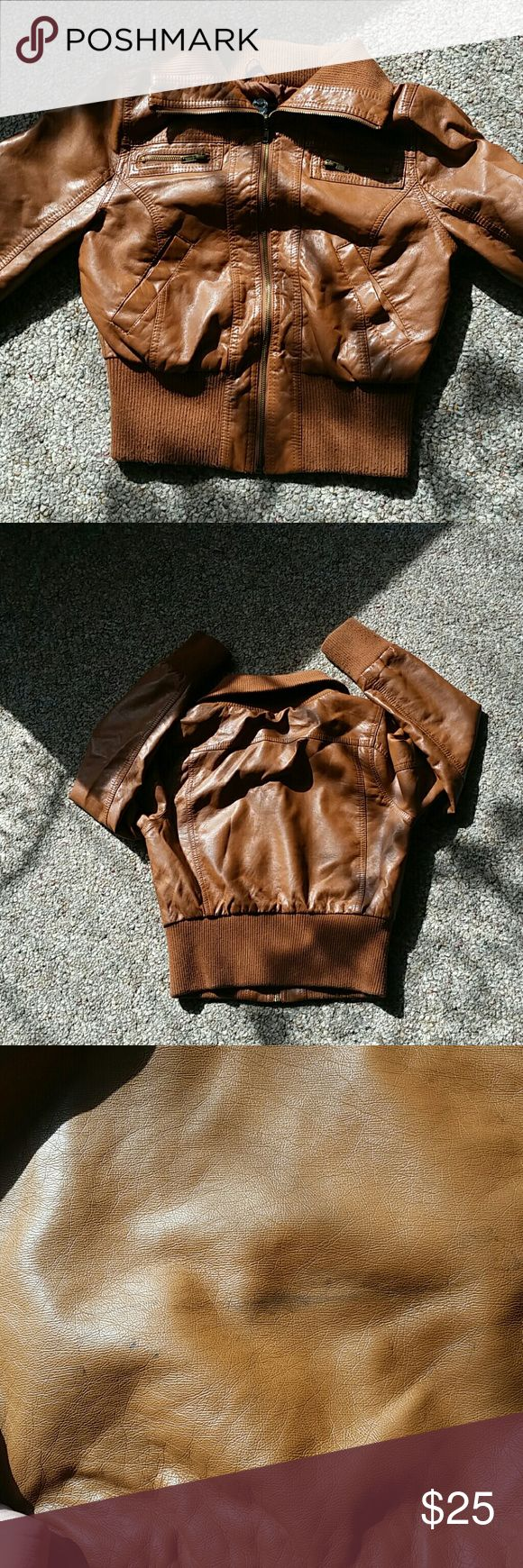 Brown leather jacket Brown leather jacket from ambiance. Size medium. Black line on the back of jacket near the bottom very unnoticable Ambiance Apparel Jackets & Coats