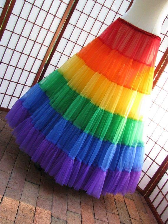 Petticoat Rainbow Floor Length Size XXSmall Custom by DawnsAtelier