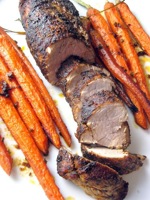 Spice-Rubbed Pork Tenderloin with Roasted Carrots - A Hint of Honey