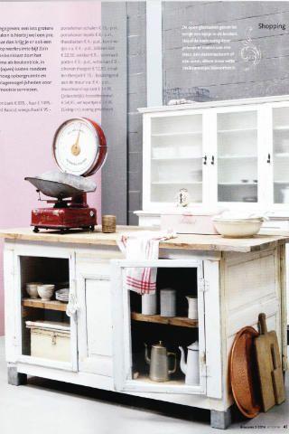 Oude landelijke toonbank - brocante keukeneiland_ van WWW.Old-BASICS.NL - Landelijk antiek en Brocante - kitchen_vintage_shabby chic_ in Ariadne at Home
