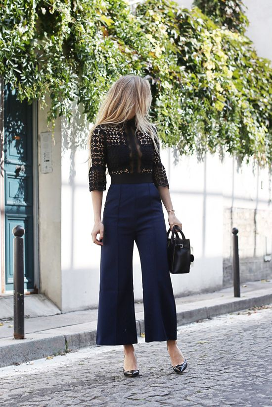 fall / winter - fall outfits - street style - street chic style - casual outfits - black and navy lace culotte jumpsuit + black stilettos + black handbag