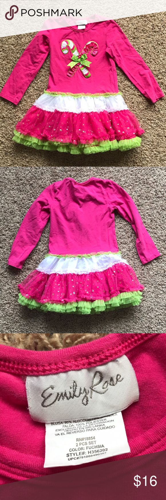 Emily Rose Pink Long Sleeve Candy Cane Tutu Top Excellent. Like-new. Boutique style. Lily Rose Shirts & Tops Tees - Long Sleeve