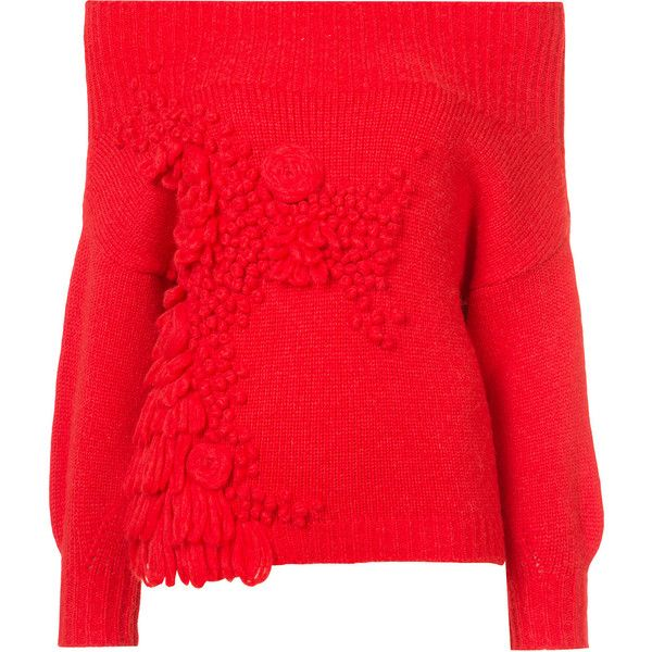 Delpozo square shoulder knitted top (3.000 RON) ❤ liked on Polyvore featuring tops, delpozo, red and red top