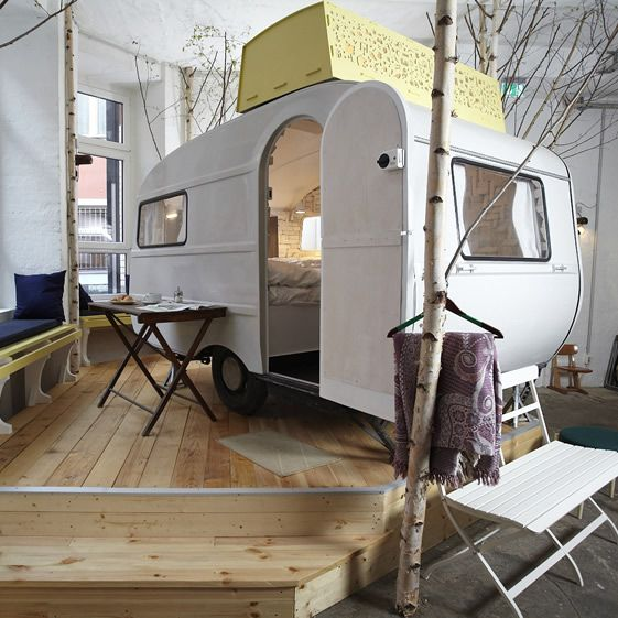 They've made the unusual move of bringing their collection of three vintage caravans indoors and parking them in the middle of a living room. How very Berlin. All the parts made redundant by the hotel facilities have been stripped out of the 'vans, freeing up space and introducing a boutique feel...