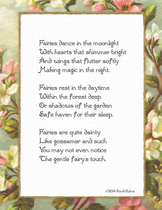 Fairies Dance in the Moonlight -  DIY printable of an original fairy poem by MyFairyPoems (Randi Kuhne, aka FairyLynne) $5.