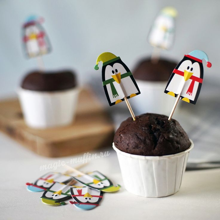 Топперы: Пингвины капкейк маффин торт декор крем выпечка рецепт cupcake muffin cake cup baking frosting decor birthday