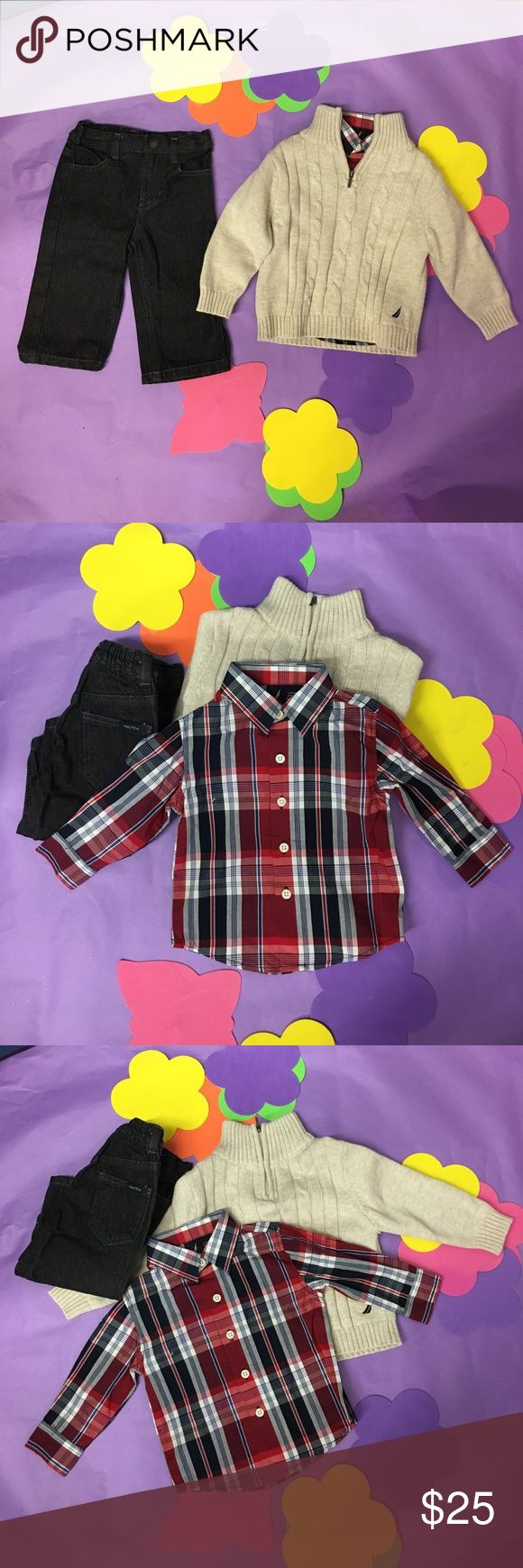 NWT Náutica boy pants sweater and shirt set 9M NWT Náutica boy pants sweater and shirt set 9M. Black jeans with plaid shirt and beige zip up sweater. Nautica Matching Sets