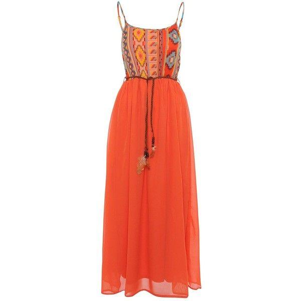 Madam Rage Orange Aztec Maxi Dress ($34) ❤ liked on Polyvore featuring dresses, spaghetti-strap maxi dresses, red dress, tassel dress, orange maxi dresses and red maxi dress