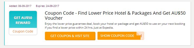 Alert: Expedia Promo Vodes Australia Enjoy the lower price guarantee deal, book your hotel or package and get AU$50 to use on your next booking if you find a lower price within 24 hrs. Just at Expedia. #Expedia_Australia #Expedia_Voucher_codes #vouchers #coupon_codes #promo_codes #expedia_au_promo_code #expedia_voucher_australia #Australia http://au.collectoffers.com/Expedia