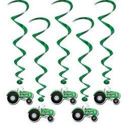 Hangdecoratie Whirls Tractors -  Vijf leuke hangdecoraties met onderaan decoraties van tractors. Leuk voor een verjaardag, boerderij feest, of gewoon als decoratie in een kinderkamer. Lengte: 100cm. | www.feestartikelen.nl