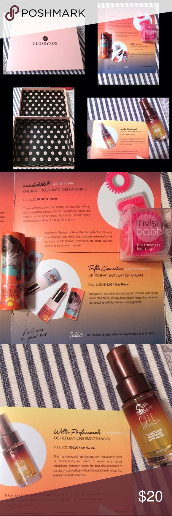 Glossybox UK Beauty Bundle • Gift Box Glossybox UK edition gift box and beauty bundle. Pink gift box. Invisibobble traceless hair rings. Trifle cosmetics lip color. Wella professionals smoothing hair oil spray. Bundle to receive discount and pay one shipping fee! Sephora Bags Cosmetic Bags & Cases