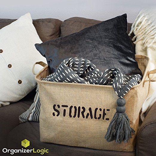 "Jute STORAGE Bin 14"" or 17""Long for Toy Storage - Storage Basket for organizing Baby Toys, Kids Toys, Baby Clothing, Children Books, Gift Baskets.   Bab"