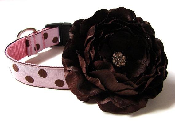 "Polka Dots Dog Collar 1"" Pink and Brown Polka Dots Matching Dog Collar Flower Available. $18.00, via Etsy."