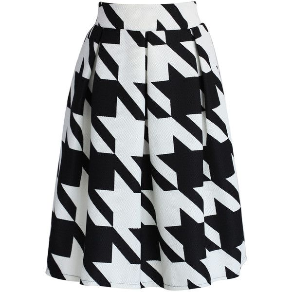 Chicwish Impressive Houndstooth Midi Skirt ($42) ❤ liked on Polyvore featuring skirts, bottoms, saias, black, houndstooth midi skirt, mid calf skirts, print skirt, patterned midi skirt and houndstooth print skirt