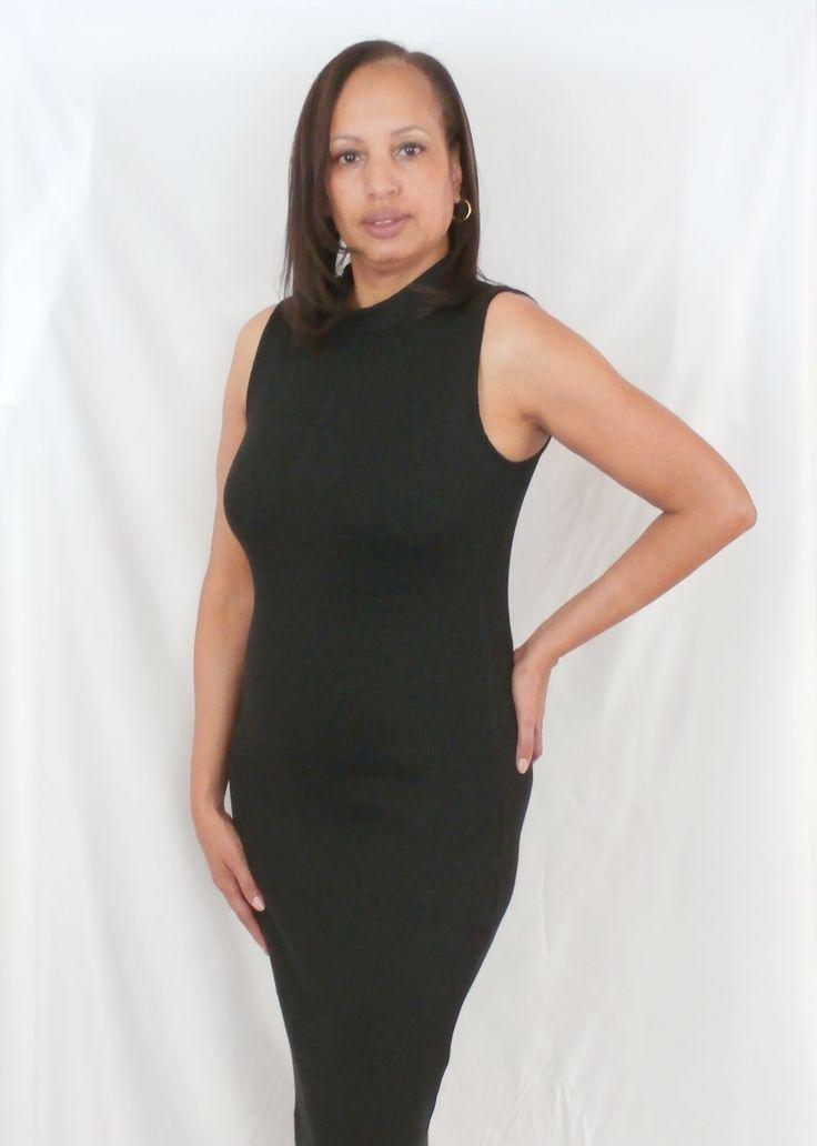 High Neck Black Knit Dress