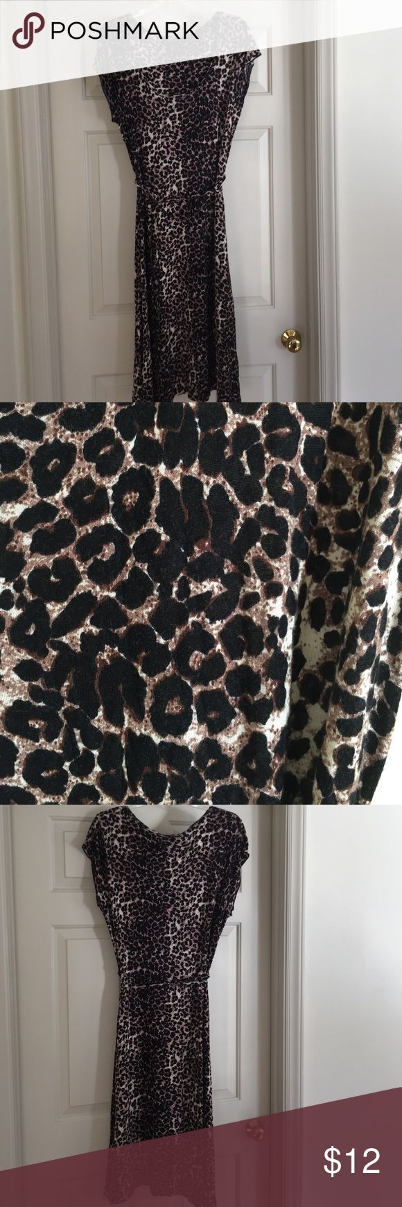 Style &co. ** dress Short sleeve leopardy print design. Can be tied at waist. Simple but classy Style & Co Dresses