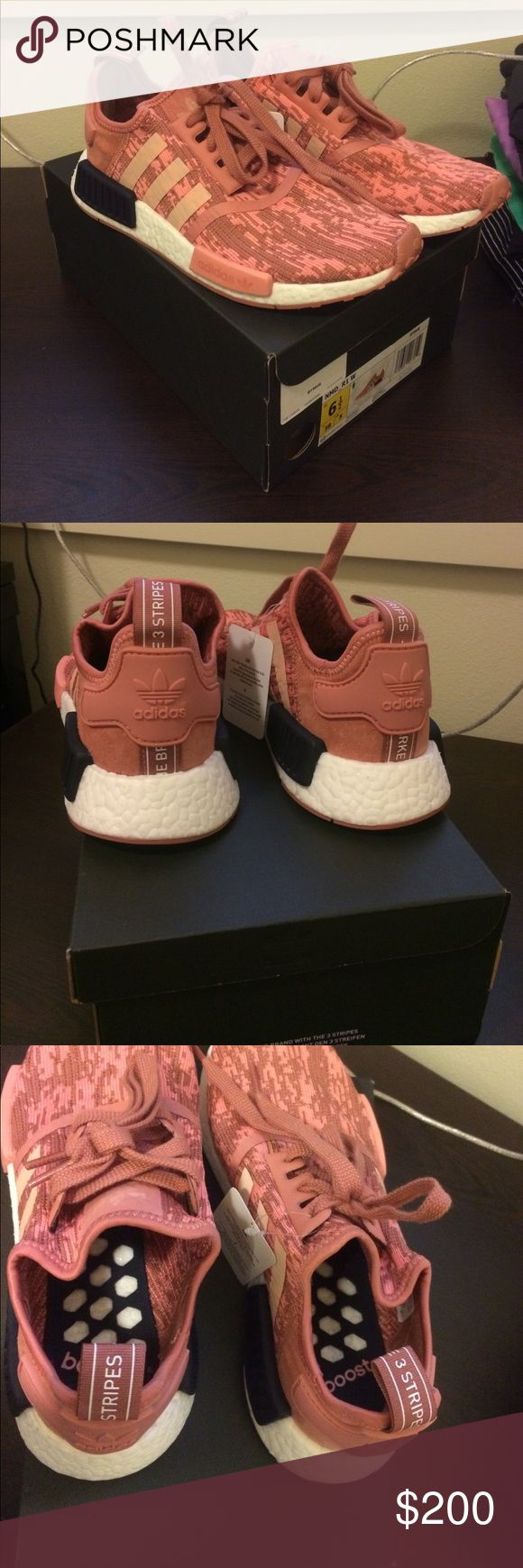 Adidas NMD R1 NWT (raw pink/trace pink/legend ink) Rare, salmon colored. Fits like a 7 (if you're familiar with adidas sizing you know they run large) this is a 6.5 but that's what I wear normally so I suggest if you wear a 7/7.5 normally these would fit you!! Beautiful color just too big on me. 100% authentic, have the Champs receipt too. Medium width Adidas Shoes Sneakers