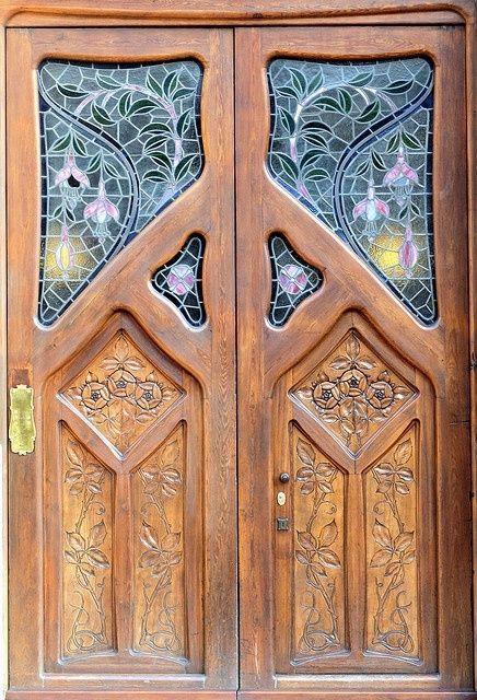 Art Nouveau Wood Door.