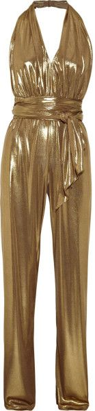 gold jumpsuit images | Halston Heritage Halterneck Lamé Jumpsuit in Gold