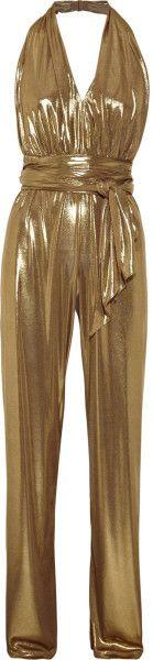 gold jumpsuit images | Halston Heritage Halterneck Lamé Jumpsuit in Gold