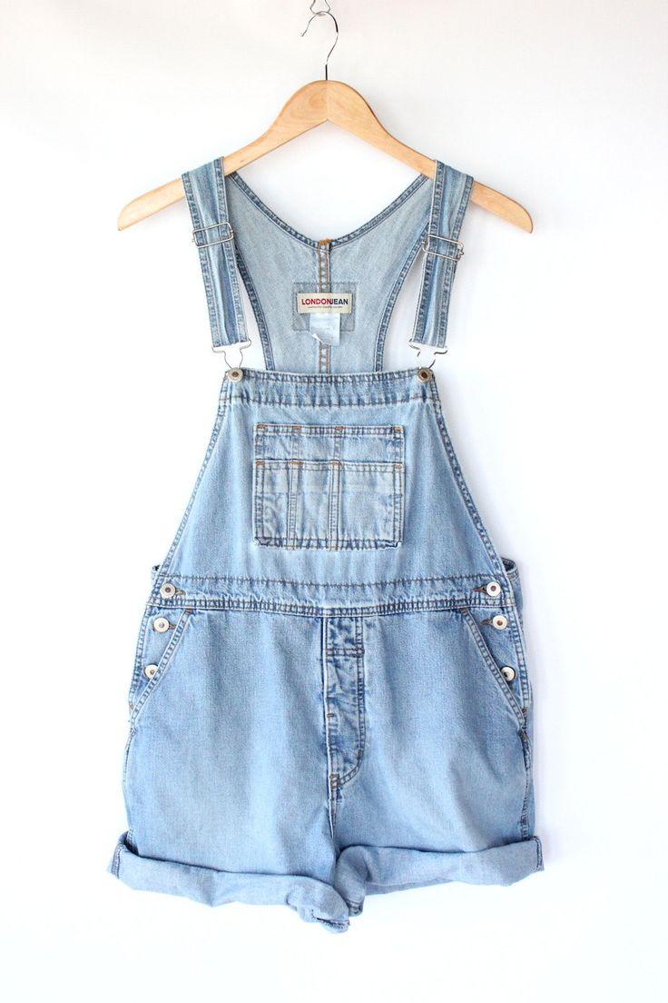 Vintage Denim Overall Shorts - 80s Light Blue Jean Bib Overalls - S / M. $40.00, via Etsy.