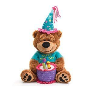 "Amazon.com: Adorable Happy Birthday Teddy Bear With Cake That Plays ""Happy Birthday To You"" Great Gift Item: Toys & Games"